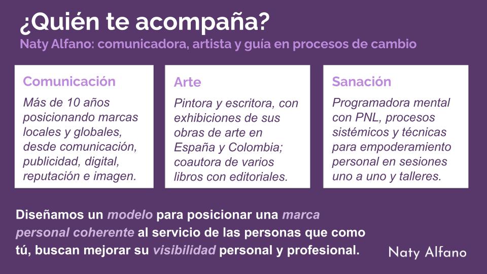 Consultoría Marca Personal Naty Alfano Experiencia Arte Comunicación Digital