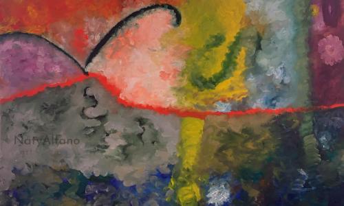 Obra arte pintura óleo Naty Alfano decoración
